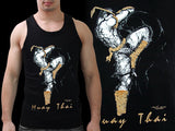 Human Fight MuayThai Tank Top Black Knee Strike VB03