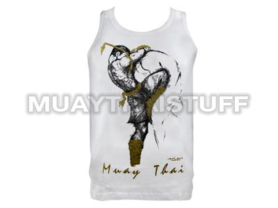 Human Fight MuayThai Tank Top White Knee Strike VW03