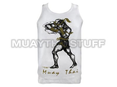 Human Fight MuayThai Tank Top White Horizontal Elbow VW06