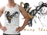 Human Fight MuayThai Tank Top White High Kick VW17