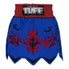 TUFF Muay Thai Boxing Shorts Classic Gladiator Design Blue