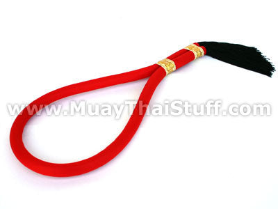 KOMBAT GEAR Muay Thai Mongkol (Head Band) Red with Balck Tail MK04-23