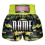 Custom Kombat Gear Muay Thai Boxing shorts Green Camouflage