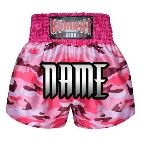 Custom Kombat Gear Muay Thai Boxing shorts Pink Camouflage
