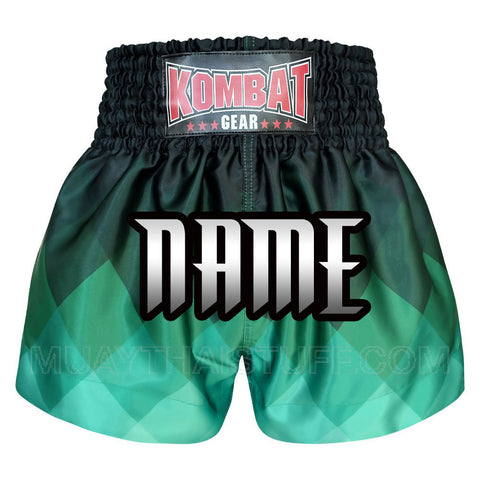 Custom Kombat Gear Muay Thai Boxing shorts Green Rhombus Gradient