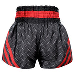 Kombat Gear Muay Thai Boxing shorts Black Steel With Red Strips