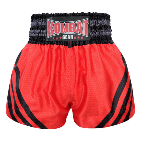 Kombat Gear Muay Thai Boxing shorts Red Star Pattern With Black Strips