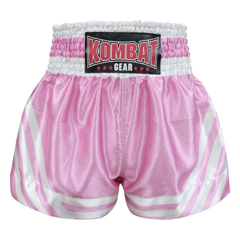 Kombat Gear Muay Thai Boxing shorts Pink Star Pattern With White Strips
