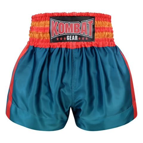 Kombat Gear Muay Thai Boxing shorts Green Blue With Red Star Strips