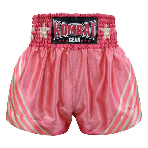 Kombat Gear Muay Thai Boxing shorts Pink Star Pattern With White Pink Strips