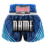 Custom Kombat Gear Muay Thai Boxing shorts Navy Blue Star Pattern With Blue Strips