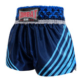 Kombat Gear Muay Thai Boxing shorts Navy Blue Star Pattern With Blue Strips