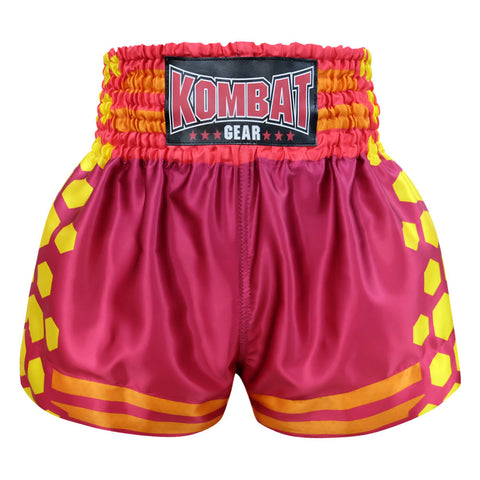 Kombat Gear Muay Thai Boxing shorts Red Violet With Yellow Hexagon
