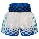 Kombat Gear Muay Thai Boxing shorts White With Green Hexagon