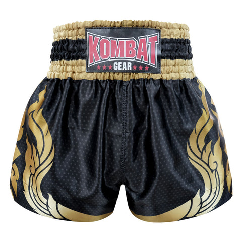 Kombat Gear Muay Thai Boxing shorts Black Star Pattern With Gold Thai Tattoo