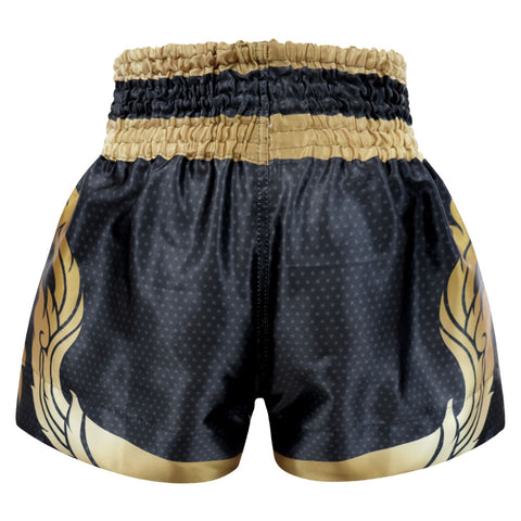 Kombat Gear Muay Thai Boxing shorts Black Star Pattern With Gold Thai Tattoo MS002-13