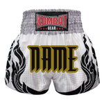 Custom Kombat Gear Muay Thai Boxing shorts White With Grey Gradient Polka Dot Thai Tattoo