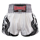 Kombat Gear Muay Thai Boxing shorts White With Grey Gradient Polka Dot Thai Tattoo