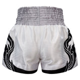 Kombat Gear Muay Thai Boxing shorts White With Grey Gradient Polka Dot Thai Tattoo KBT-MS002-15