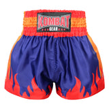 Kombat Gear Muay Thai Boxing shorts Navy Blue With Red Star Fire Frame