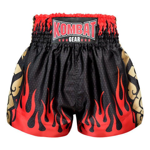 Kombat Gear Muay Thai Boxing shorts Black Star Pattern Red Fire Gold Thai Tattoo
