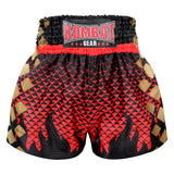 Kombat Gear Muay Thai Boxing shorts Black Triangles Gradient Red With Black Star Fire Frame