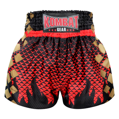 Kombat Gear Muay Thai Boxing shorts Black Triangles Gradient Red With Black Star Fire Frame KBT-MS002-19