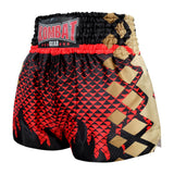 Kombat Gear Muay Thai Boxing shorts Triangle Gradient Red With Black Flame KBT-MS002-19