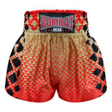 Kombat Gear Muay Thai Boxing shorts Red Triangles Gradient Gold With Black Square KBT-MS002-20