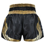 Kombat Muay Thai Boxing Black Shorts With Thai Gold Kanok Pattern
