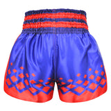 Kombat Muay Thai Boxing Navy Blue Shorts With Red Star Pattern And Stripe