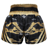 Kombat Muay Thai Boxing Camougflage Shorts Black Gold With Stripe