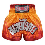 Kombat Muay Thai Boxing Geometry Shorts Orange With Red Fire