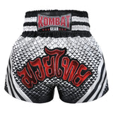 Kombat Muay Thai Boxing Geometry Shorts White Black With Stripe