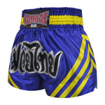 Kombat Muay Thai Boxing Blue Shorts With Yellow Stripe