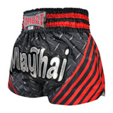 Kombat Muay Thai Boxing Black Steel shorts With Red Stripe
