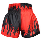 Kombat Muay Thai Boxing Two Tone Shorts With Fire Black Red