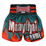 Custom Kombat Gear Muay Thai Boxing Geometry Shorts Green With Red Fire