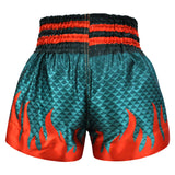 Kombat Muay Thai Boxing Geometry Shorts Green With Red Fire