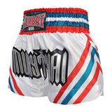 Kombat Muay Thai Boxing White Shorts With Red Blue White Stripe