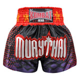 Kombat Muay Thai Boxing Shorts Purple Black With Red Geometry