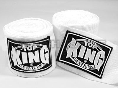 Top King Muay Thai Hand Wraps White TKHWR01