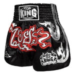 TOP KING Muay Thai Shorts Black With White Graphic KTBSS-041