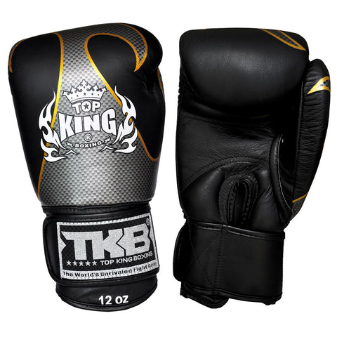 TOP KING Boxing Gloves Empower Creativity Black With Silver Kevlar Printed TKBGEM01