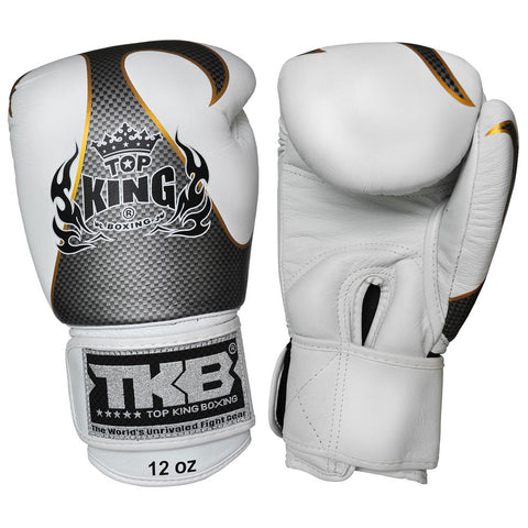 TOP KING Boxing Gloves Empower Creativity White With Silver Kevlar Printed TKBGEM01