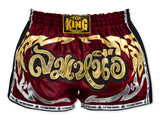 Top King Muay Thai Boxing Shorts Retro Style Burgundy With Gold Text TKRMS-006
