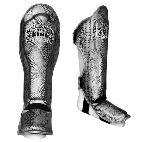 "Top King Shin Guards Fancy ""Super Snake"" Black Silver TKSGSS02"