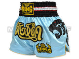 Top King Muay Thai Boxing Shorts Light Blue With Black Tiger & Gold Text TKTBS-045