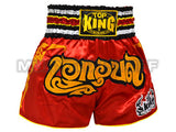Top King Muay Thai Boxing Shorts Red With Gold Kanok Pattern & Glister Text TKTBS-050