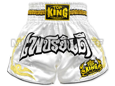 Top King Muay Thai Boxing Shorts White With Gold Kanok Pattern & White Glister Text TKTBS-051